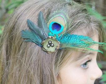 Peacock Feather Clip - Peacock Hair Accessories - Peacock Wedding Eye Sword Feather Tan Gold Green