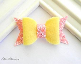 Baby Bow Hair Clip - Yellow and Pink Bow Hair Clip - Felt Bow Hair Clip - Glitter Bow Hair Clip