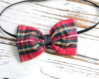 Baby Bow Headband - Plaid Bow Headband - Christmas Bow Headband - Newborn Bow Headband - Baby Christmas Bow Headband