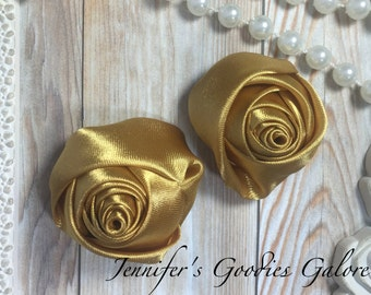 "Set of TWO Gold 2"" Satin Rosette Flower Heads, Rolled Roses Wholesale Mini Rosettes for Baby Headbands"
