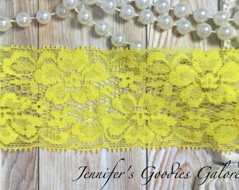 "2"" Lace Elastic BRIGHT YELLOW Lace, Stretch Elastic, 3 or 5 Yards"