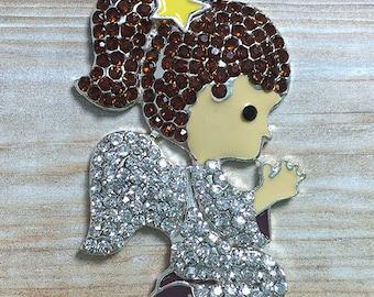 48*32MM Angel Praying Rhinestone Pendant - Girl Praying - Angel Girl - Christmas Pendant - Chunky Necklace Beads