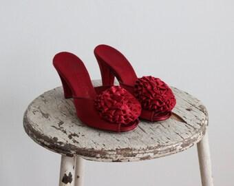 1950s Pomarosa Boudoir Slippers / Daniel Green Shoes