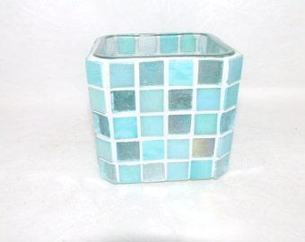 Mosaic Candle Holder - Turquoise Blues