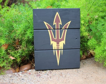 ASU Arizona State University Fear The Fork Sun Devil Football Logo Sports Maroon and Gold pallet wood sign customized