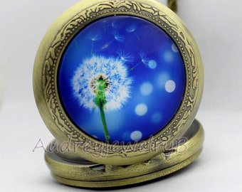 1pcs Dandelion Watch Pendant with chain pocket watch Bridesmaid Christmas friends children's gifts Valentine's Day (can be customized Photo)