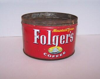 Coffee Tin Folgers Coffee Can 1-lb Tin © 1959