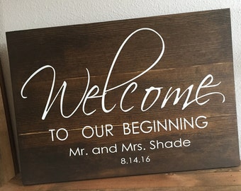 Large Wood Sign - Welcome to Our Beginning - Subway Sign