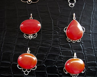 Red Coral Pendant, Natural Stone Pendant, Sterling Silver Pendant, Choose Your Pendant From 6 Styles