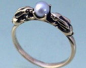 Two Bunnies Ring with 4mm Japanese Akoya Pearl in Sterling Silver for Ali Only