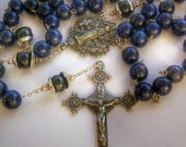 Lapis Lazulli, Black Onix and Bali sterling silver Cup beads caps Catholy Rosary