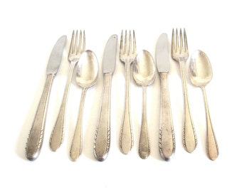 "Antique Silverware Set Silverplate Basic Service for 3 (9 pieces - forks, spoons, knives) Holmes & Edwards Inlaid IS ""First Lady"" 1930s"