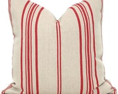 Decorative Pillow Cover, French Grain Sack Pillow Cover with Red Stripe on Natural Linen, Made to order size