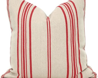 Decorative Pillow Cover, French Grain Sack Pillow Cover with Red Stripe on Natural Linen, 20x20
