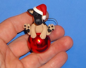 Polymer Clay German Shepherd Dog on Red Glass Ornament