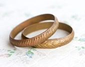 Pair of Brass Indian Bangles - Vintage Boho Wide Cuff
