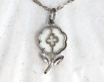 Silver Flower Necklace - Antique Sterling Silver Pendant on Chain