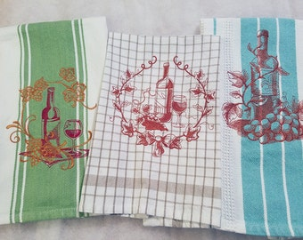 Set of 3 Gourmet Wine Lover's Kitchen Towels 100% Cotton, Machine Embroidery, Hostess Gift, Wedding Gift, Teacher Gift Cook Gift