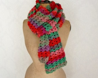 Crochet lace scarf crochet scarf striped shawl gift for her