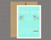 You Did It! Congratulations Card - Military Greeting Card, Deployment Card, Care Package, Boot Camp, Army, Navy, Air Force, USMC,