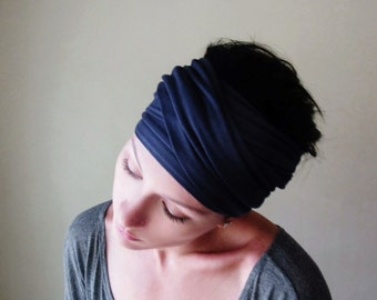 MIDNIGHT BLUE Hair Wrap - Dark Blue Head Scarf - Boho Hair Accessories - Yoga Headband - Bohemian Head Scarf - Alopecia Wrap