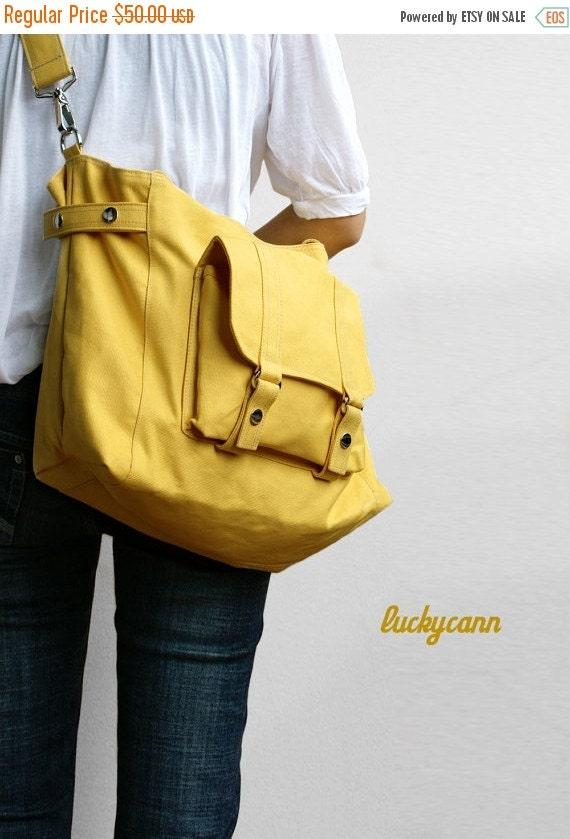 Winter Sale 15%off CARSON // LemonChiffon / Line with Beige / 032 / Ship in 3 days // Messenger / Diaper bag / Shoulder bag / Tote bag / Pur