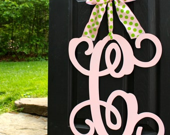 Metal Monogram Wreath - Choose Color - Choose Ribbon - Initial Wreath