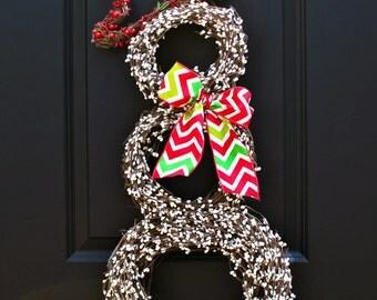 Snowman Wreath - Christmas Wreath - Snowmen Wreath - Chevron Wreath - Winter Wreath-