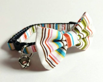 White Cat Collar, Kitten Collar, Play Collar, Kitten Play Collar, Cat Collar - Zoo Stripes - Matching Bow Tie and Flower Available