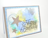 Star Happy Birthday Card Watercoloured Card