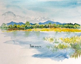 Vermont Watercolor View from Mills Point on Lake Champlain, Waterscape print, Green Mountains