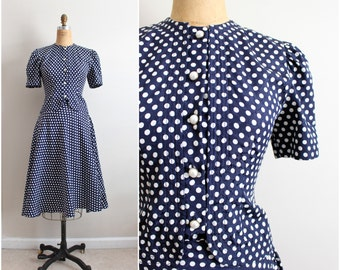 70s Polka dot Dress / Polka dot Suit / Full Skirt / Size S/M