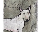 Bull Terrier Miniature Giclee Print of Original Intaglio with Ink and Watercolour