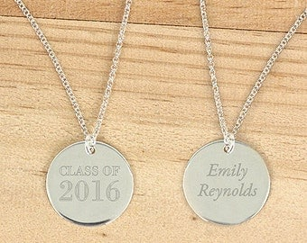 Personalized Silver Graduation Round Pendant Class of 2016 Graduation Gift Necklace - M1035846