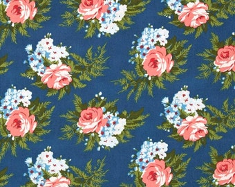 78088 - Verna Mosquera Indigo Rose Corsage in Midnight color PWVM135 - 1 yard