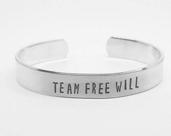 Team Free Will: Supernatural fandom hand stamped aluminum fangirl cuff bracelet