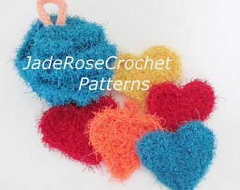 Crochet Bath Pouf Pattern, Crochet Heart Scrubby Pattern, Crochet Spa Patterns, Crochet Exfoliator Pattern, PDF513