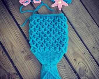 Newborn Baby Girl Blue & Pink Crochet Crocodile Stitch MERMAID TAIL Photo Prop w/Matching SeaShell Bikini and Star Headband  -- Cute Photo P