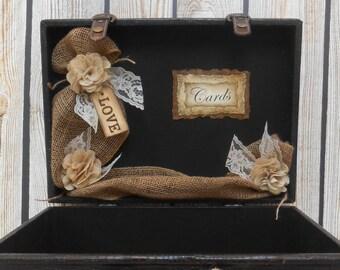Wedding Card Box / Wedding Card Trunk / Suitcase Card Holder / Burlap Wedding Decor / Burlap Wedding Card Box / Wedding Decorations