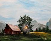 "Old Barn painting on 14"" x 18 inch stretched canvas, landscape painting, sunrise art, canvas painting, office art, wall decor, home decor"