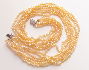 Vintage Peach Fresh Water Pearl Multi Strand Necklace Rice 6 Strand