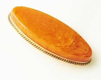Antique Edwardian Baltic Amber Brooch 8K Russian Gold