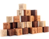 26-piece PICTURE ALPHABET block set - natural wooden toy blocks with letters, pictures,  words -  heirloom, educational gift for boy or girl
