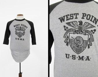 Vintage West Point Raglan Shirt Military Academy Jersey 1970s Soft and Thin - Medium