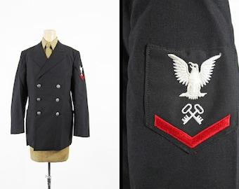 Vintage 70s US Navy Uniform Jacket Storekeeper Black Wool Dress - Size 39 R