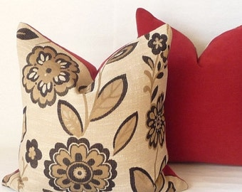 SALE Black  Gold Modern Large Scale Floral Pillow Cover Red Chenille Contemporary Designer Pillows Modern Decor