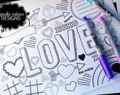 Valentine Love Doodle Coloring Pages and Placemat  -Valentine's Day- DIY  Digital Pages U PRINT- Instant Download