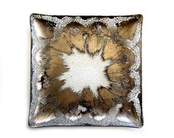 DorothyThorpe Square Platter Mid Century Atomic Textured Silver
