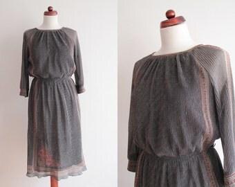 Vintage Dress - 1970's Partydress Lamé Lurex Dress with Floral Print- Size S