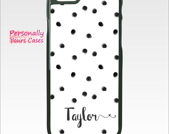 Personalized iPhone 6 Tough Case - Custom Phone Case - iPhone 6S Plus - iPhone 5/5S - Galaxy Note 5  Black Painted Dots